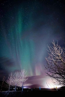 Northern Lights over Reykjavik Iceland