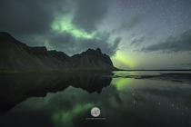 Northern Lights over Vestrahorn Iceland