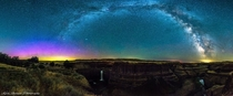 Northern Lights under The Milky Way at Palouse Falls WA by Kevin Roylance