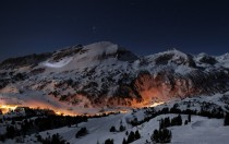 Norwegian mountain villageski resort by night