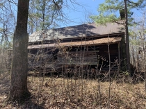 Not a very good picture but a house built in the s abandoned in the middle of nowhere in the woods near Dadeville Alabama