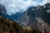 Not all  waterfalls have started to flow but two of the biggest are constantly dropping mist to the Lauterbrunnen Valley