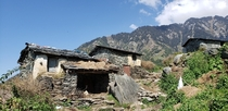 Not exactly a skyline but I was impressed by the Himalayan house structure based only on thin rocks x