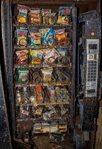 not mine Abandoned snack machine late s-early s judging by the brands on display