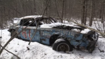 Not mine but found this on social media Photographer is Michelle Girouard Forgotten race car in New Brunswick forest