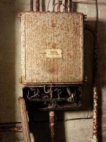 Not So Essential - An abandoned fuse box  feet underground in Churchills emergency wartime bunker NW London
