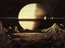 Not sure if illustrations are allowed but this is Saturn by Chesley Bonestell