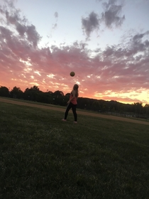 Not sure if people are allowed to be in the picture butttt this was a perfect sky to play soccer under - Pennsylvania