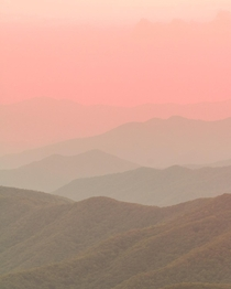Nothing but layers and pastels from the top of Clingmans Dome in Great Smoky Mountain National Park