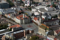 Novi Sad Serbia old center from air