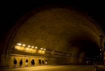 Nuns walk through a tunnel leading towards St Peters Square to attend the inauguration of Pope Francis at the Vatican