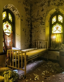 Nurses office in an abandoned church in St Louis Those are cotton balls on the floor