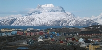 Nuuk population  the capital of Greenland with the Sermitsiaq mountain in background