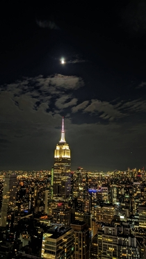 NYC Moon above the empire State building