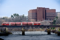 O-Train crossing the Rideau River at Carleton University Ottawa