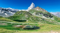 OC A clear view of Matterhorn mountain with lake view near Zermatt Switzerland  x  px