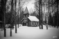 OC  Abandoned little church tucked away in the forest I snapped this shot during a snowstorm earlier this year Maybe Ill post more of it
