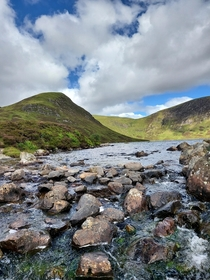 OC Loch skeen reveals itself around a bend on the grey mares waterfall trail in moffat scotland Taken today st july
