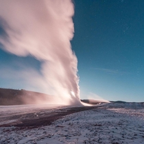 OC- Old Faithful Yellowstone National Park blasting off in front of a full moon  rising Have you been to Yellowstone
