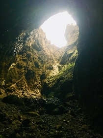 OC view from inside the caves of Mercer Bay NZ