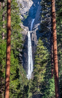 OC - Yosemite Falls framed by the woods Yosemite National Park  JakobPattersonphotography