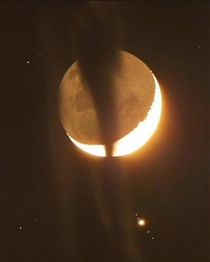 Occultation -- the waning Moon Jupiter and the four Galilean moons Callisto Ganymede Io and Europa Credit Juerg Alean