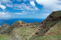 Ocean behind the Anaga Mountains in Tenerife Canary Islands
