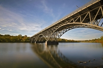 October on the Schuylkill River under the Strawberry Mansion Bridge Philadelphia