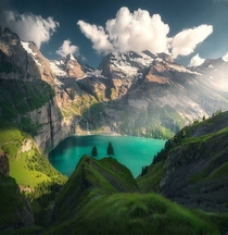 Oeschinen Lake is a lake in the Bernese Oberland Switzerland
