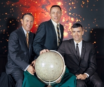 Official NASA photograph of the prime crew for the Apollo  lunar landing mission commander James Lovell command module pilot John Jack Swigert lunar module pilot Fred Haise