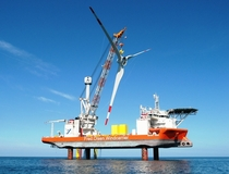 Offshore wind construction ship Brave Tern deployed state