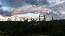 Oil refinery from a distance in Edmonton Alberta