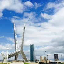 Oklahoma City Oklahoma with the Skydance Pedestrian Bridge in the foreground OC