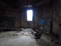 old abandoned basement of a grain silo in the city Chicago IL