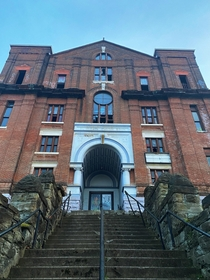 Old abandoned St Michael Catholic School in the South Side Slopes of Pittsburgh Pennsylvania Home of the infamous long-running - Veronicas Veil Passion Play Performance The  seat auditorium sits in deteriorating rubble today