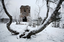 Old Abandoned Stone Tower just outside the town of Solitude Island Ludwigshtein Russia