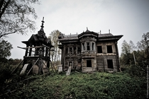 Old abandoned wooden house built bygones ago in the Kostroma region