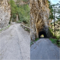 Old alpine road near Thusis in Switzerland replaced by a new one with long tunnels