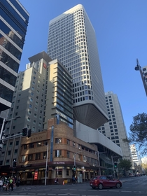 Old and new Art Deco Civic Hotel brutalist Masonic Centre modern Ibis Hotel Sydney NSW AU
