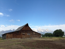 Old barn on Mormon Row in Jackson Hole WY