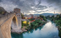 Old Bridge and Surroundings in Mostar Bosnia and Herzegovina
