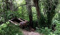 Old car left beside a bike trail miles from any road it could fit on - Salem OR -