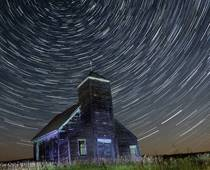 Old church with star trails