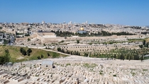 Old city of Jerusalem Israel as seen from the Mount of Olives