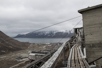Old coal mine mine b outside Longyearbyen Svalbard MiC