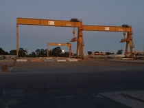 Old cranes at dawn at our worksite