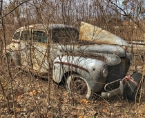 Old DeSoto hidden in the weeds of an abandoned car lot You cant see this thing at all during the summer