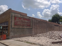 Old Dr Pepper ad revealed after demolition in Little Rock AR xpost from rArkansas