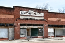 Old drug store in Merigold Mississippi population down  in last  years