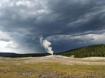 Old faithful geyser after eruption Yellowstone